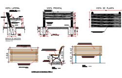 Furniture plan and section detail dwg file