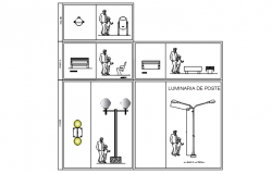 Furniture plan and street light detail dwg file