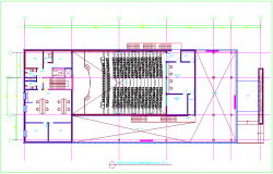 Furniture plan of first floor auditorium dwg file