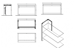 Furniture sectional detailing layout  dwg file