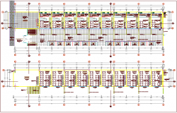 Furniture view in first and second floor plan of zonal market dwg file