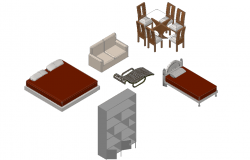 Furniture view of different types home related furniture 3d dwg file