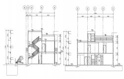 G+1 Residential Bungalow Section AutoCAD Drawing