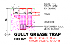 GULLY GREASE TRAP section design drawing