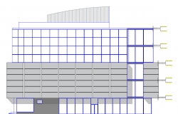 Gallery and office building elevation dwg file