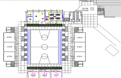 Game zone center line plan detail dwg file