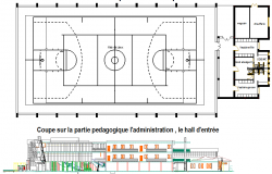 Game zone plan and elevation detail dwg file