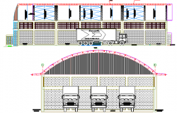 Garage Architecture Design and Elevation dwg file