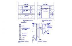 Garage door, window buck, exterior door installation details dwg file