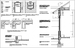 Garage door and window buck detail view with footing view dwg file