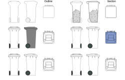 Garbage bin plan detail dwg.