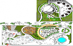 Garden Landscaping of Five Star Hotel Architecture Project dwg file