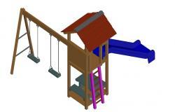 Garden Swing Design 3d model CAD Drawing