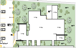 Garden & Car Parking Area of Geriatric Center Architecture Layout dwg file