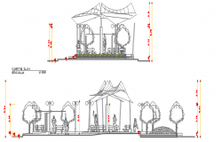 Garden area sitting section detail dwg file