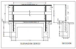Garden fence elevation and section details dwg file