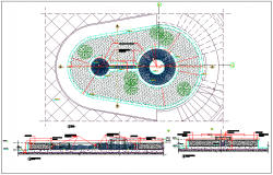 Garden fountain plan view detail information dwg file