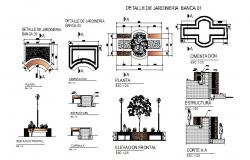 Garden furniture and equipment detailed architecture project dwg file