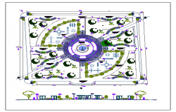 Garden landscaping with main gate details dwg file