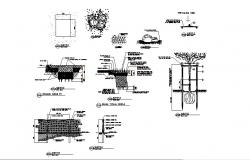 Garden pedestrian walk and landscaping structure details dwg file