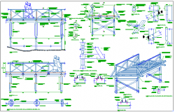 Garden walking bridge structure detail view dwg file