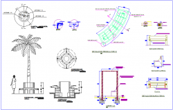 Gardening,river banking and pergola block detail view dwg file