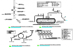 Gas installation plant details of building dwg file