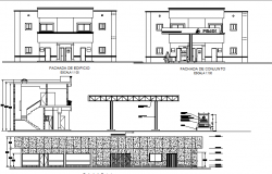 Gas station building elevation and sectional details dwg file