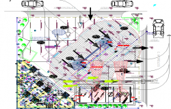 Gas station landscaping with site plan dwg file