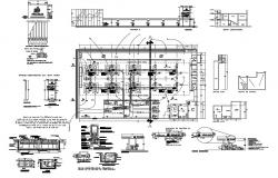 Gas station plant installation and structure details dwg file