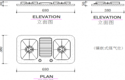 Gas stove block design all sided elevation dwg file