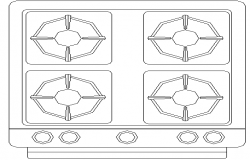 Gas stove with four burner cad block design dwg file