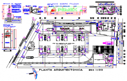 Gasoline filling station convenience store toilets and office design drawing