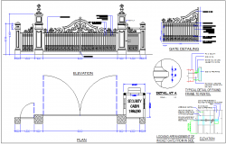 Gate design view with elevation and plan view with detailing dwg file