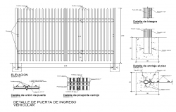 Gate detail elevation and section layout autocad file