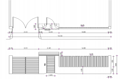 Gate door plan and elevation detail autocad file