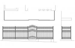 Gate elevation, section and fence structure details dwg file