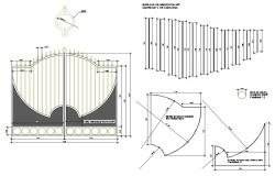 Gate elevation and fence section and auto-cad details dwg file