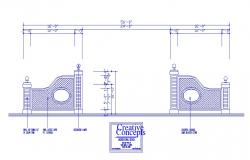 Gate fence and decorative column cad drawing details dwg file