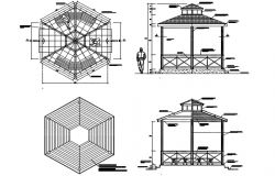 Gazebo plan and elevation detail dwg file