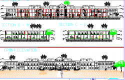 Genera Hospital Complex Elevation and Section Details dwg file