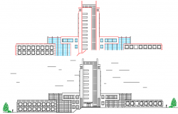 General Hospital Front Elevation and Structure Details dwg file