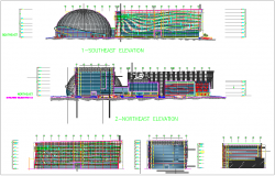 General building plan and elevation view dwg file