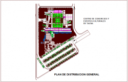 General distribution plan of congress center and cultural event dwg file