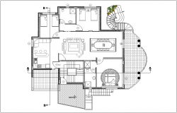General floor plan of house with architectural view dwg file
