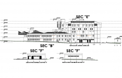 General hospital sections detail dwg file.