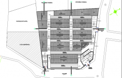 General layout plan details of shopping center project dwg file