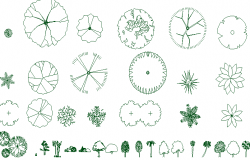 General tree plant blocks design of garden dwg file
