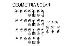 Geometric solar multiple blocks cad drawing details dwg file