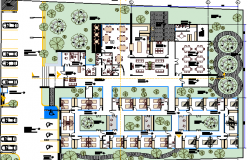 Geriatric Center Architecture Layout and Structure Details dwg file
